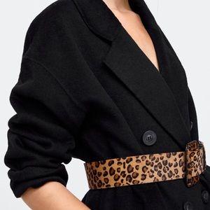 NWT • Zara • Animal Print Leather Belt